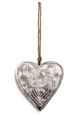 Hanging Carved Wooden Heart