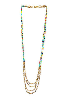 Multicoloured Glass & Metal Bead Necklace