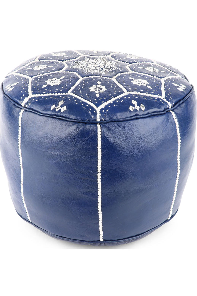 Star Royal Blue Leather Ottoman