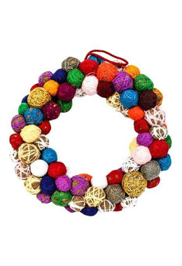 Decoration Christmas Wreath Pom Pom 35.5cm