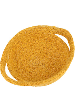 Yellow Jute Bowl with Handles