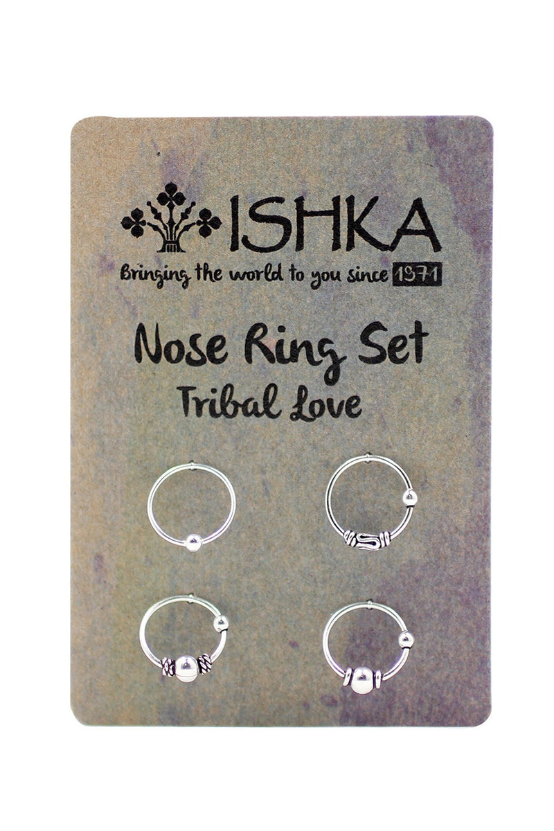 Set of 4 Silver Nose Rings