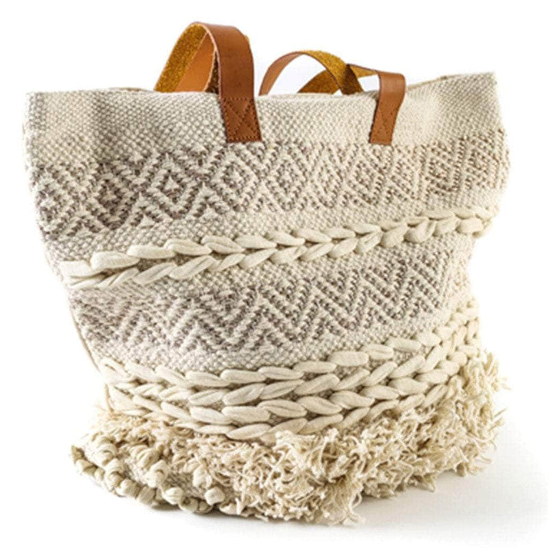 White Knotted Macrame Bag