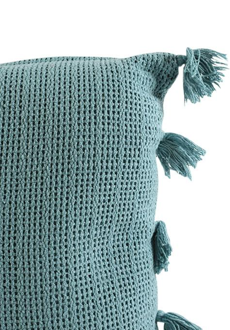 Teal Pom-Pom Cushion