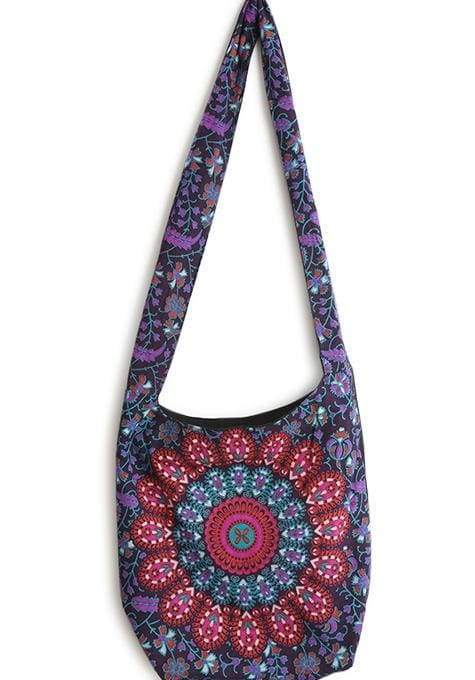 Purple Hand Block Printed Mandala Boho Bag