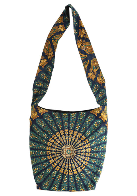 Black Hand Block Printed Mandala Boho Bag