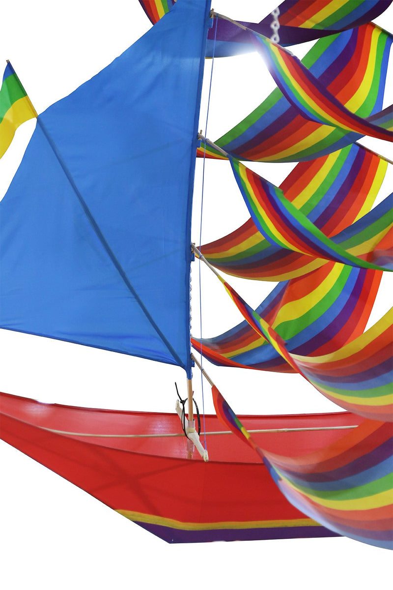 Handpainted Terbang Rainbow Sail Boat Kite