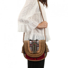 Weave & Jewels Leather Handwork Bag
