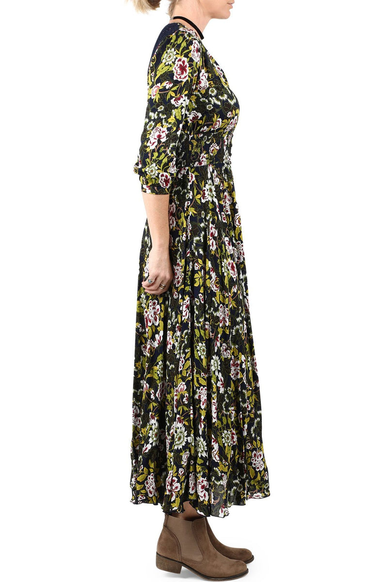 Black Floral Crochet Back Maxi Dress