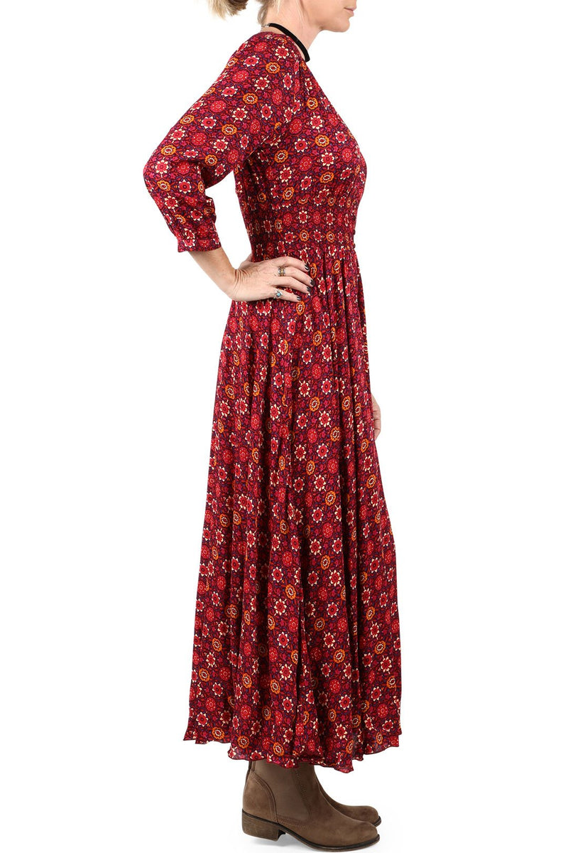 Red Floral Crochet Back Maxi Dress
