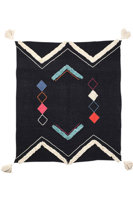 Blue & Pink Triangle Tufted Throw