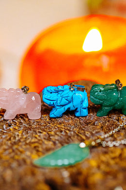 Assorted Gemstone Elephant Pendant