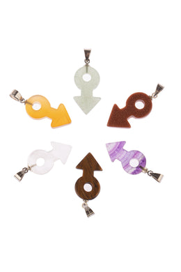 Assorted Gemstone Female Symbol Pendant