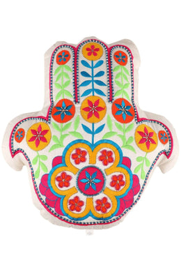 White Embroidered Hamsa Cushion