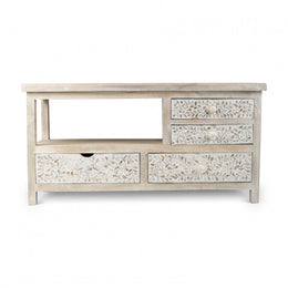 White Floral Bone Inlay TV Cabinet