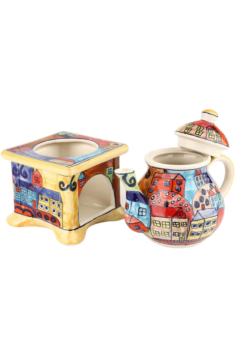 Towns & Houses Teapot Stand Set