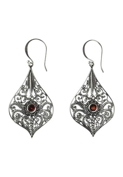 Medallion Garnet Earrings