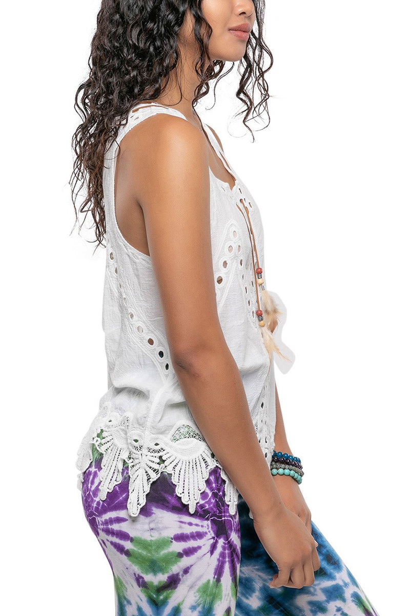 White Feather Tie Embroidered Sleeveless Top