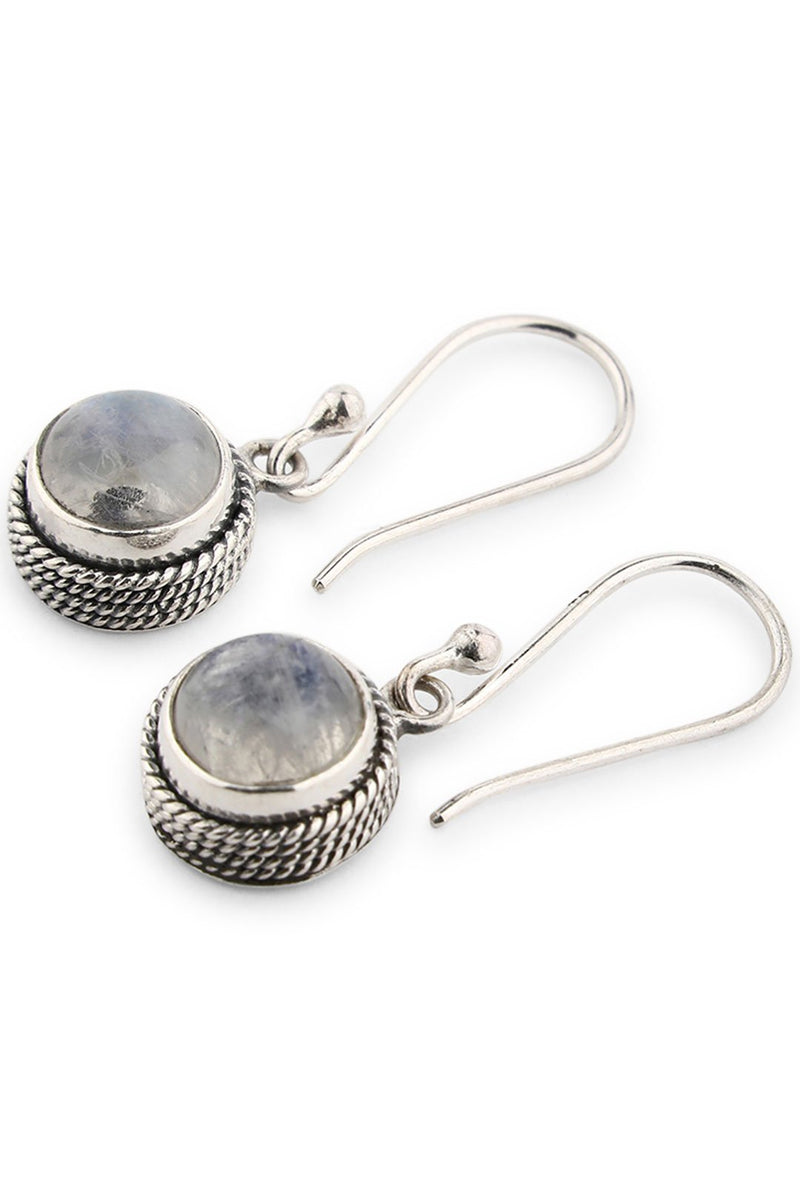 Round Moonstone Ornate Droplet Earrings