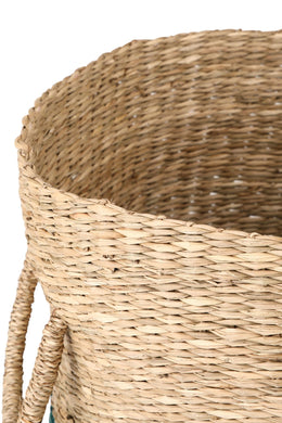 Green/Natural Seagrass Basket - Large