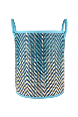 Light Blue Ombre Woven Basket With Handles - Small