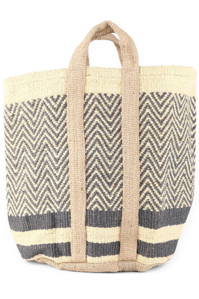 Navy Patterns Jute Basket