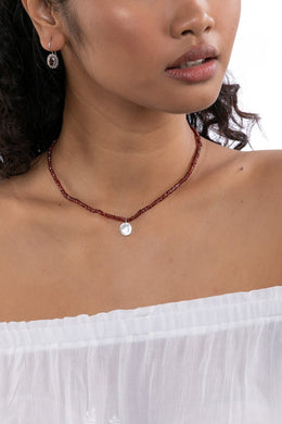 Gemstone Necklace With Metal Charm