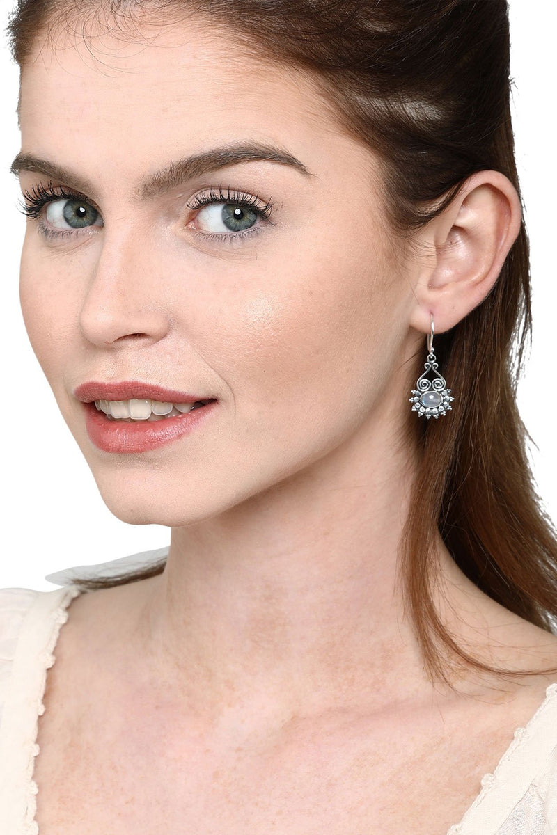 Ethnic Detail Moonstone Droplet Earrings