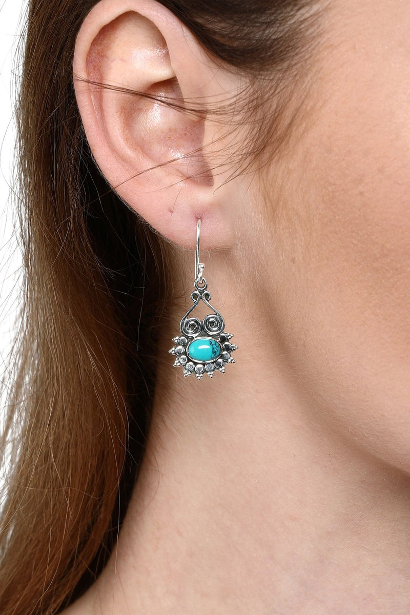 Ethnic Detail Turquoise Droplet Earrings