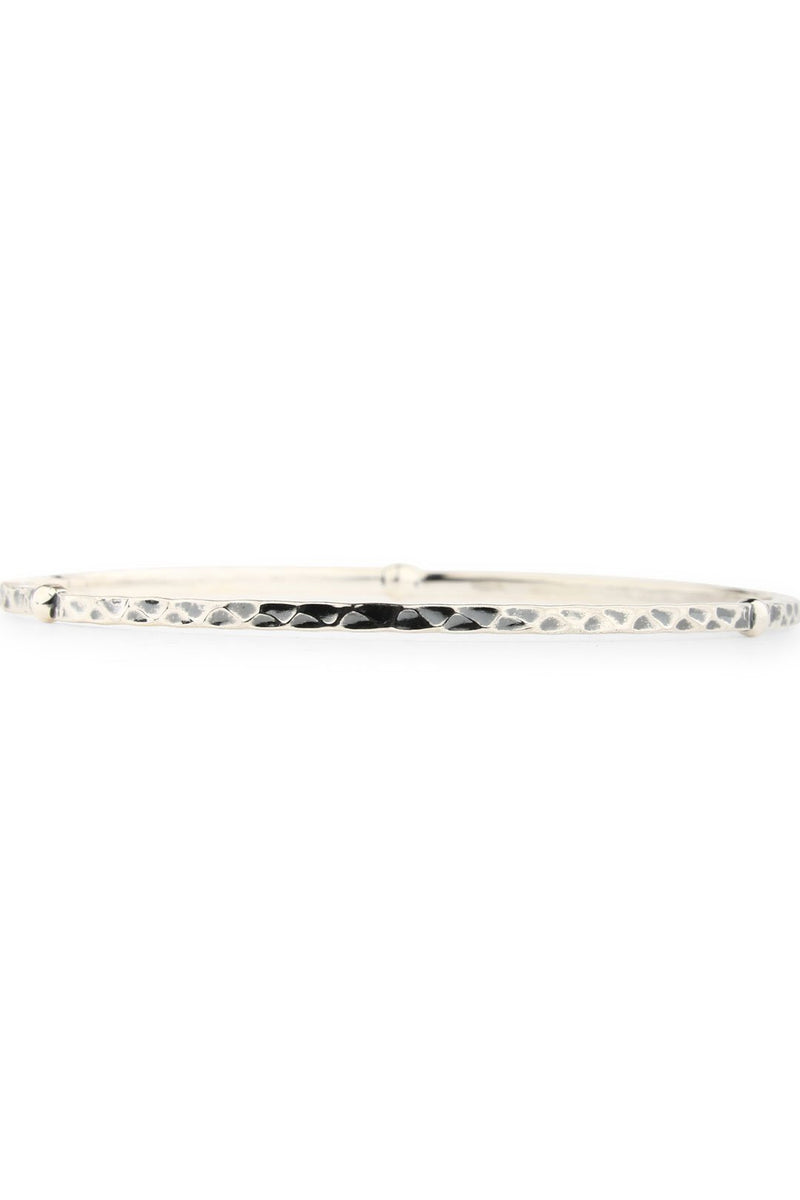 Silver Flower Studs Beaten Bangle