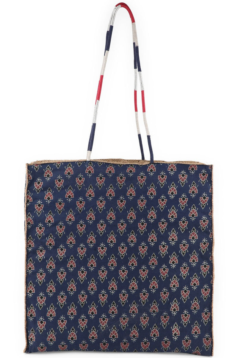 Assorted Navy Jute Hessian Shopping Bag
