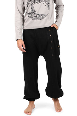 Black Wrap Front Trousers