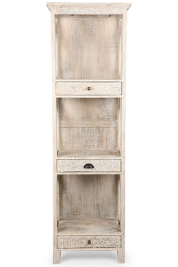 Carved White Washed Bookshelf