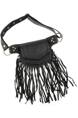 Black Leather Fringe Pocket Belt