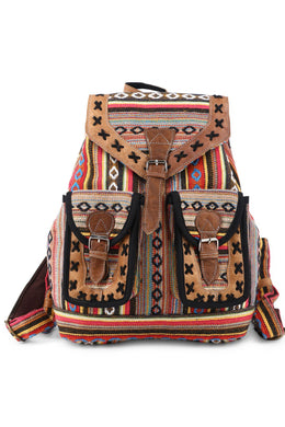 Leather & Rainbow Striped Backpack