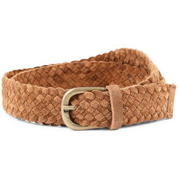 Unisex Leather Woven Belt