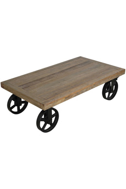Table Coffee Cast Wheels Elm Wood 120x70x38cm