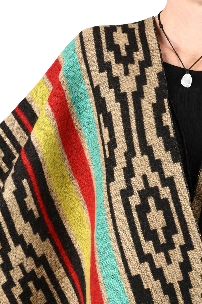 Black & Yellow Mix Aztec Knitted Poncho