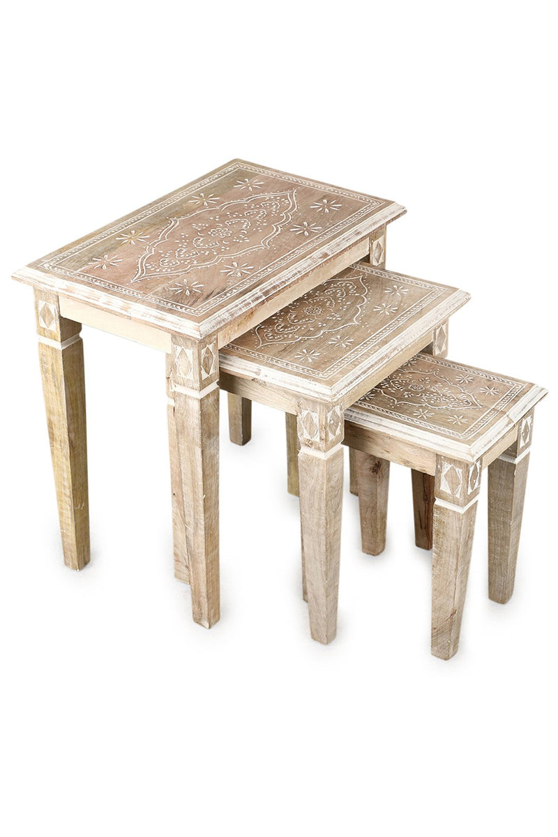 Henna Carved Set of 3 Nesting Tables