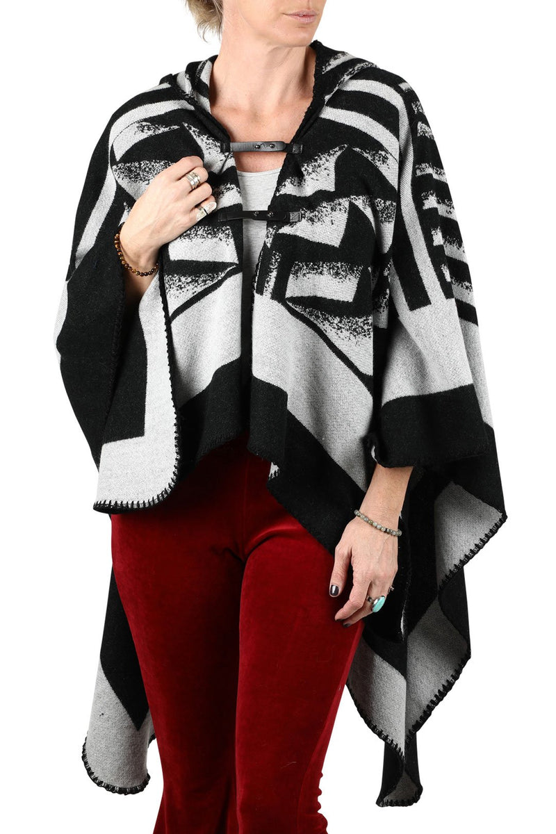 Monotone Tribal Hooded Poncho