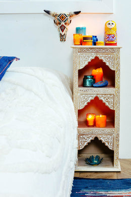 Whitewash Mehrab 3 Compartment Bookshelf