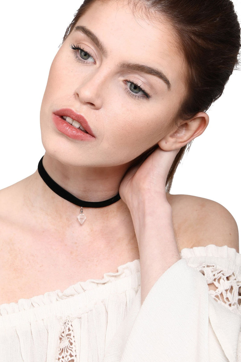 Crystal Pendant Choker Necklace