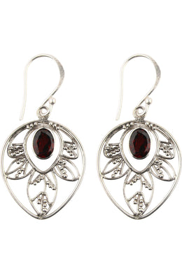 Garnet Leaf Silver Earrings