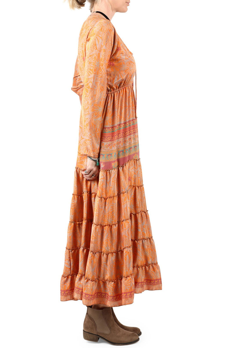Assorted Long Sleeve Sari Maxi Dress