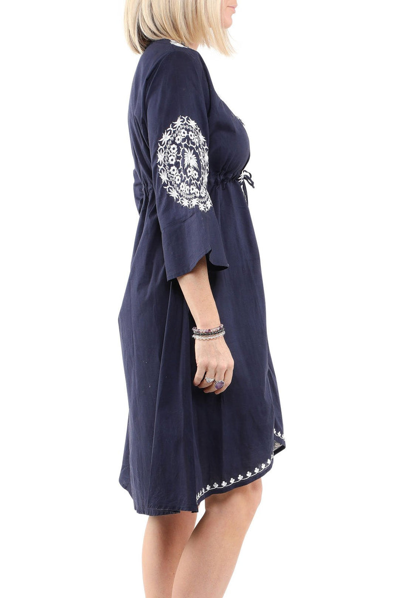 Blue Floral Embroidered Dress