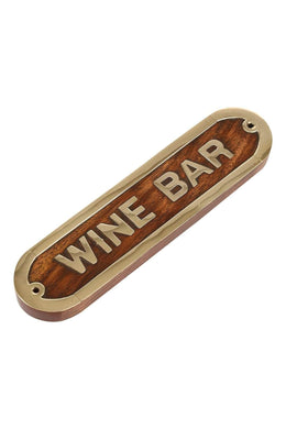Wood & Brass Wine Bar Sign
