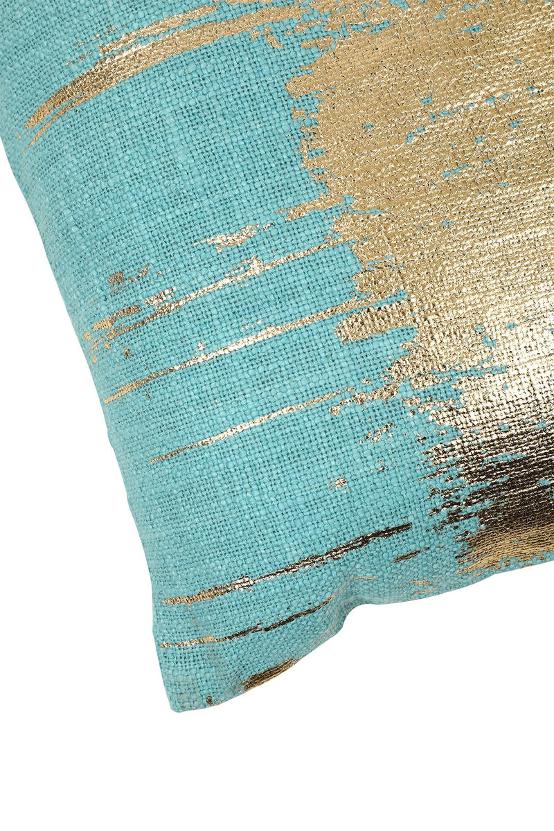 Gold Foil Stripe Square Cushion