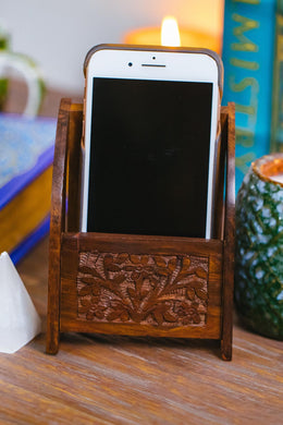 Floral Wooden Mobile Phone Holder