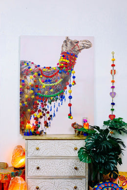 Camel With Pom Poms Oil Painting Canvas