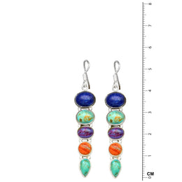5 Stone Lapis Turquoise Earrings